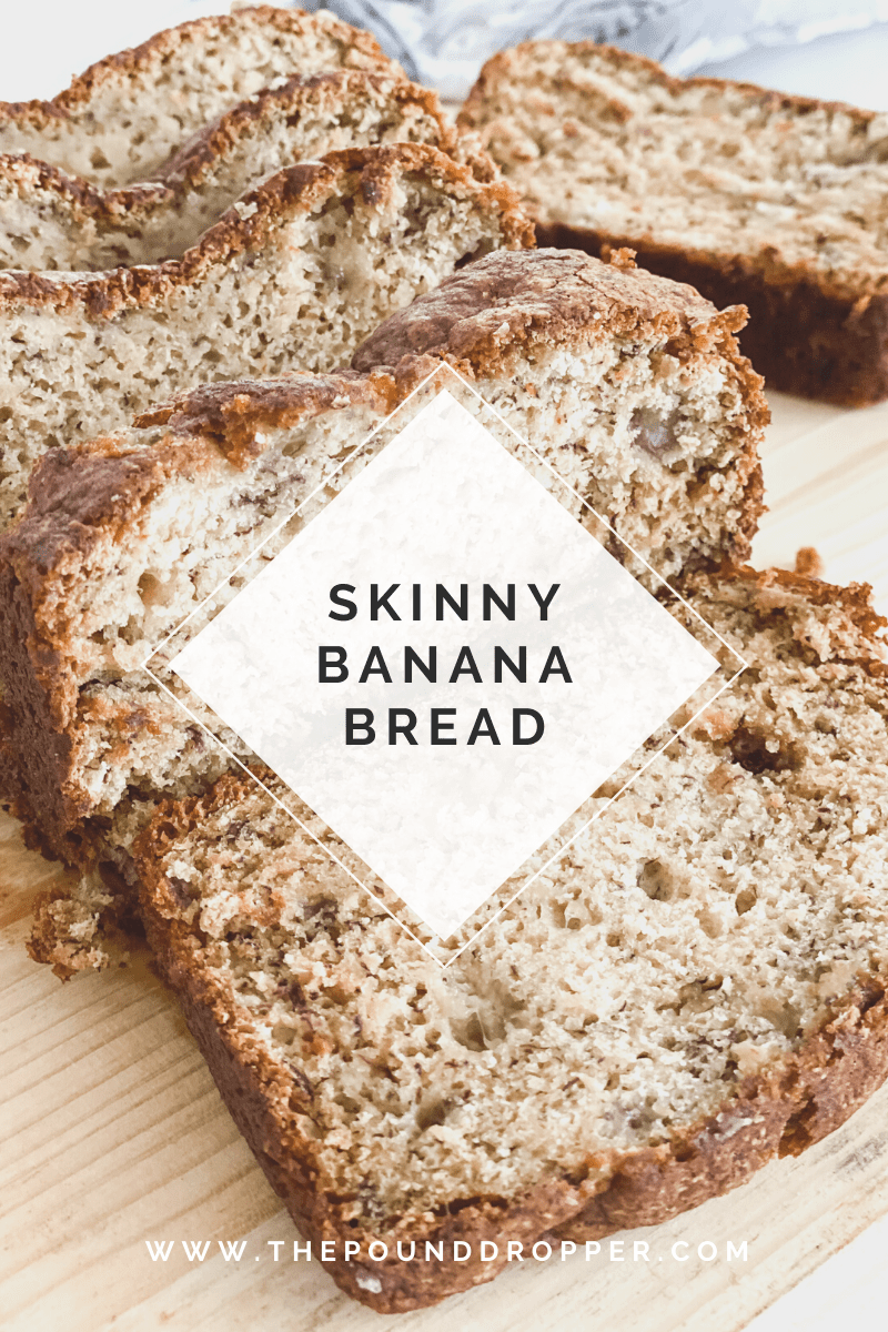 This Skinny Banana Bread is perfectly sweet, creamy, and flavorful. Perfect for a side dish, breakfast, or even as a dessert!The light melted butter along with the brown sugar substitute makes the crust crunchy while the inside soft and creamy! You'll be sure to have seconds with this one! via @pounddropper