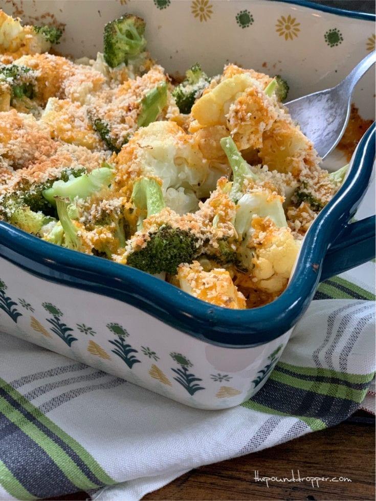 Easy Cheesy Broccoli and Cauliflower Bake