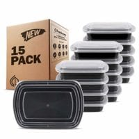 Freshware Meal Prep Containers [15 Pack] 1 Compartment with Lids, Food Storage Containers Bento Box   BPA Free   Stackable   Lunch Boxes, Microwave/Dishwasher/Freezer Safe (28 oz)
