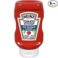 Heinz No Sugar Added Tomato Ketchup, 13 oz Bottle (Pack of 6)