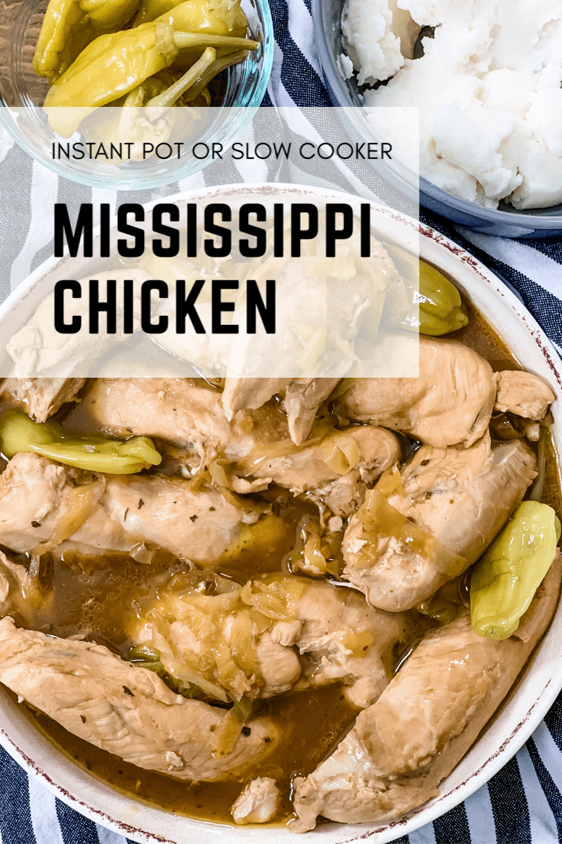 This Instant Pot or Slow Cooker Mississippi Chicken isa combination of five simple ingredients that comes together to make an amazing dish! via @pounddropper
