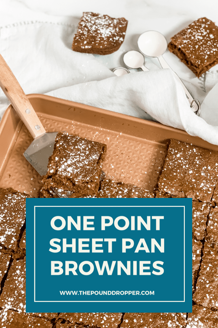 This One Point Sheet Pan Brownie iseverything you'd want in homemade BUT lower in points than classic homemade brownies! The best part is that they can be ready in less than 30 minutes. They are thePERFECT chocolatey treat! via @pounddropper