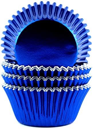 Foil Metallic Cupcake Liners Standard Baking Cups 100 Pcs (Navy Blue)