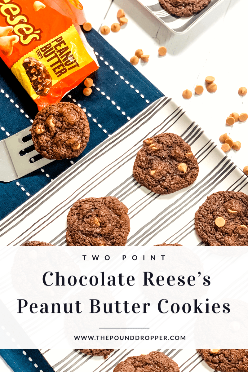 Two Point Chocolate Reese's Peanut Butter Cookies via @pounddropper