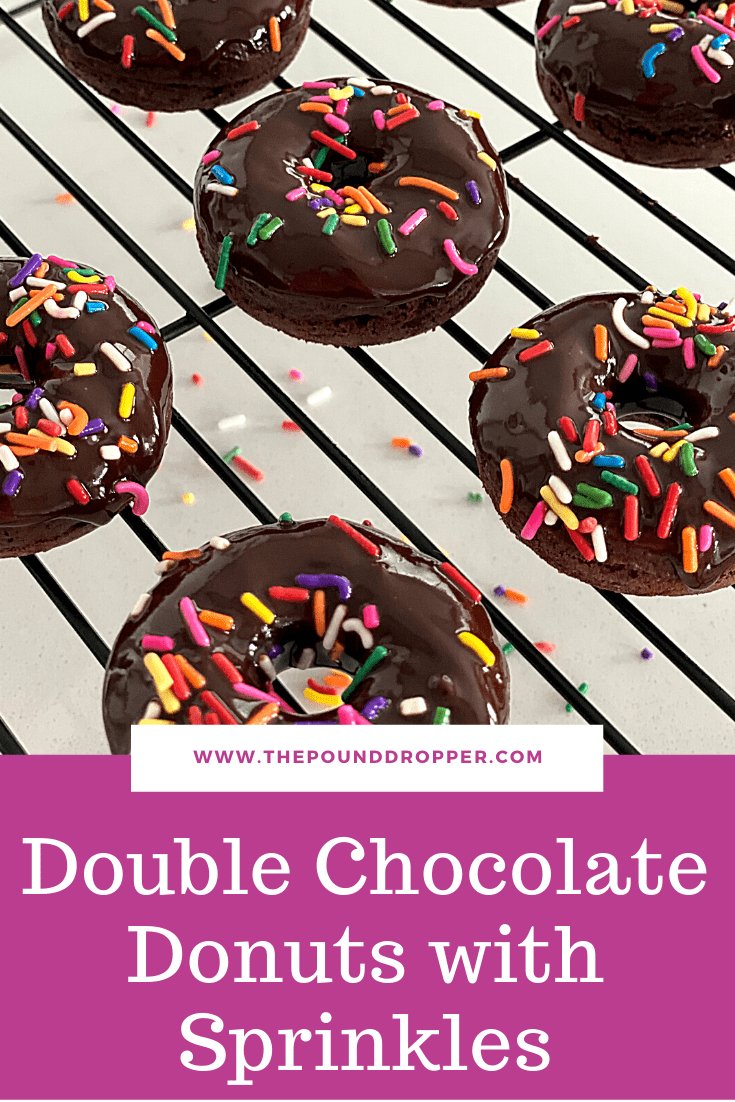 These Double Chocolate Donuts with Sprinkles are baked not fried-giving them a moist, cake-like texture. Topped with the BEST homemade chocolate glaze and sprinkles which makes them simply irresistible!! via @pounddropper