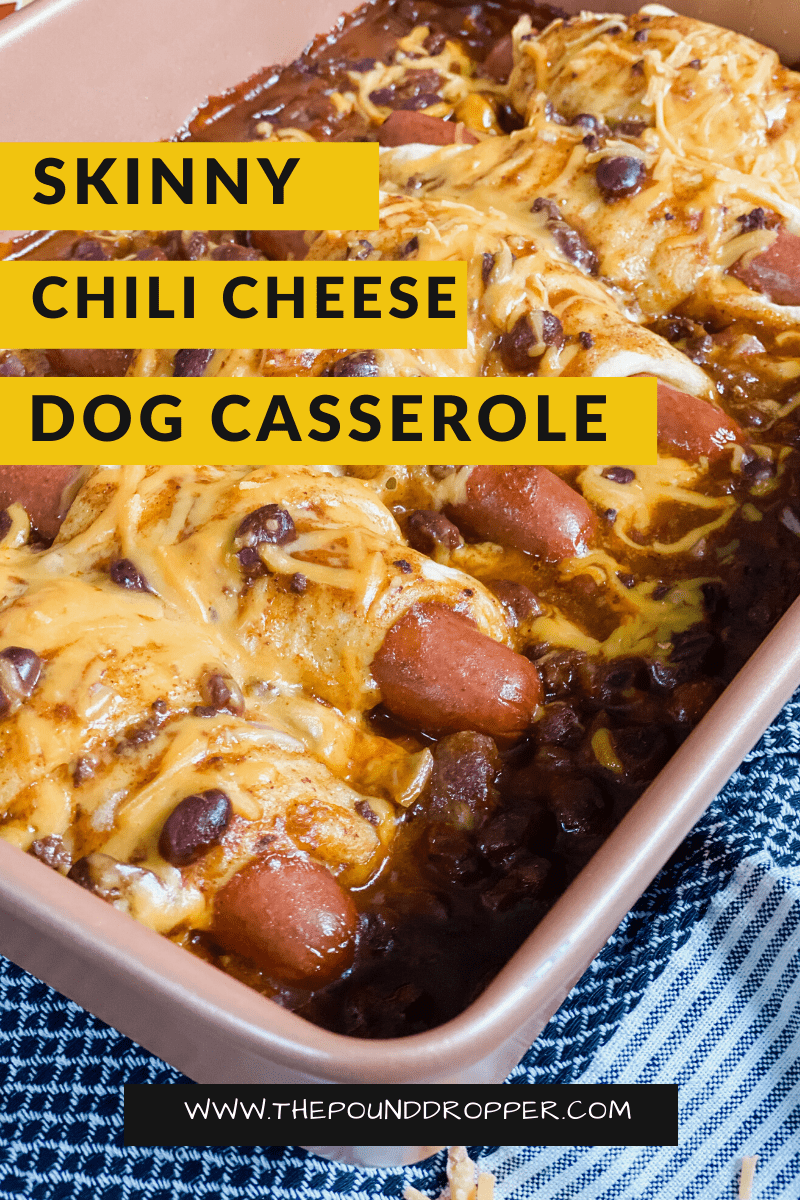 This Skinny Chili Cheese Dog Casseroleis super easy to make and requires just 5 ingredients! This casserole combines two comfort food favorites-chili and hotdogs!It's sure to be a family favorite! via @pounddropper