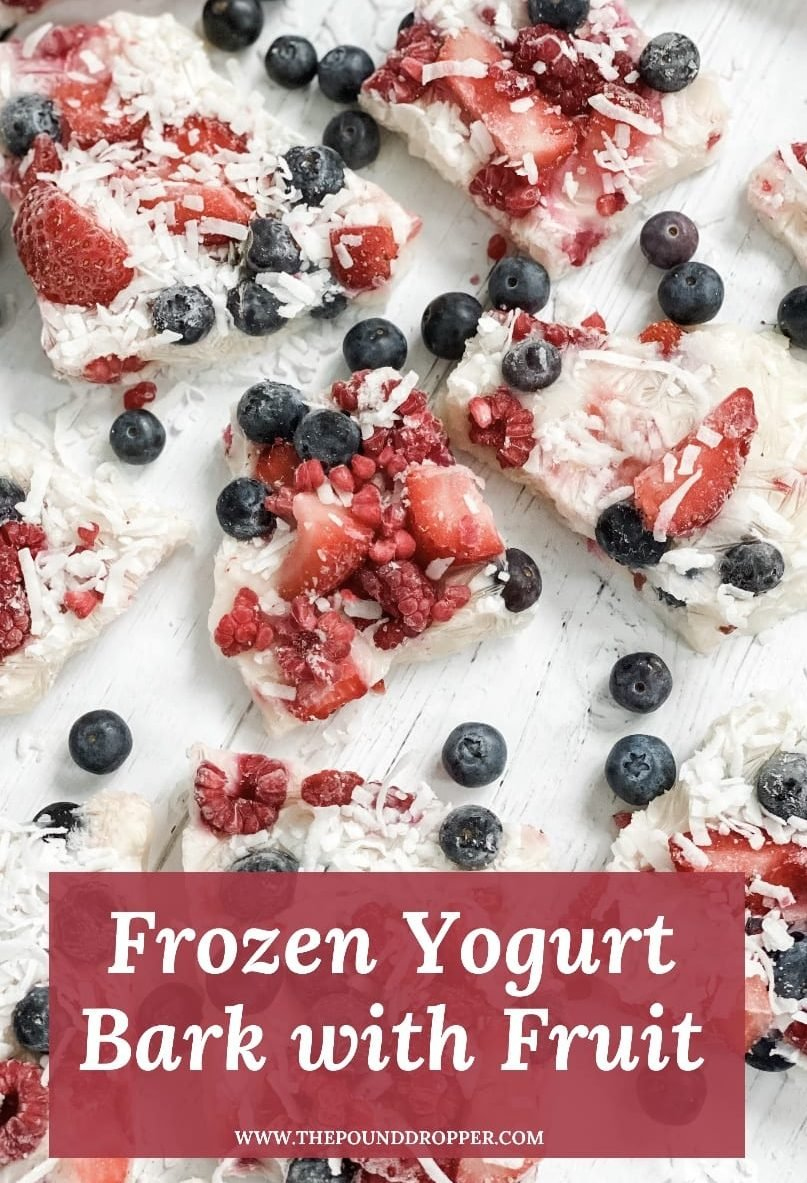 ThisFrozen Yogurt Bark with Fruit is simpleto make and so refreshing! Made with non fat creamy plain or Greek yogurt, Lakanto monk fruit sweetener, vanilla, and fresh fruit. Thismakes for the perfect summertime snack or treat! via @pounddropper