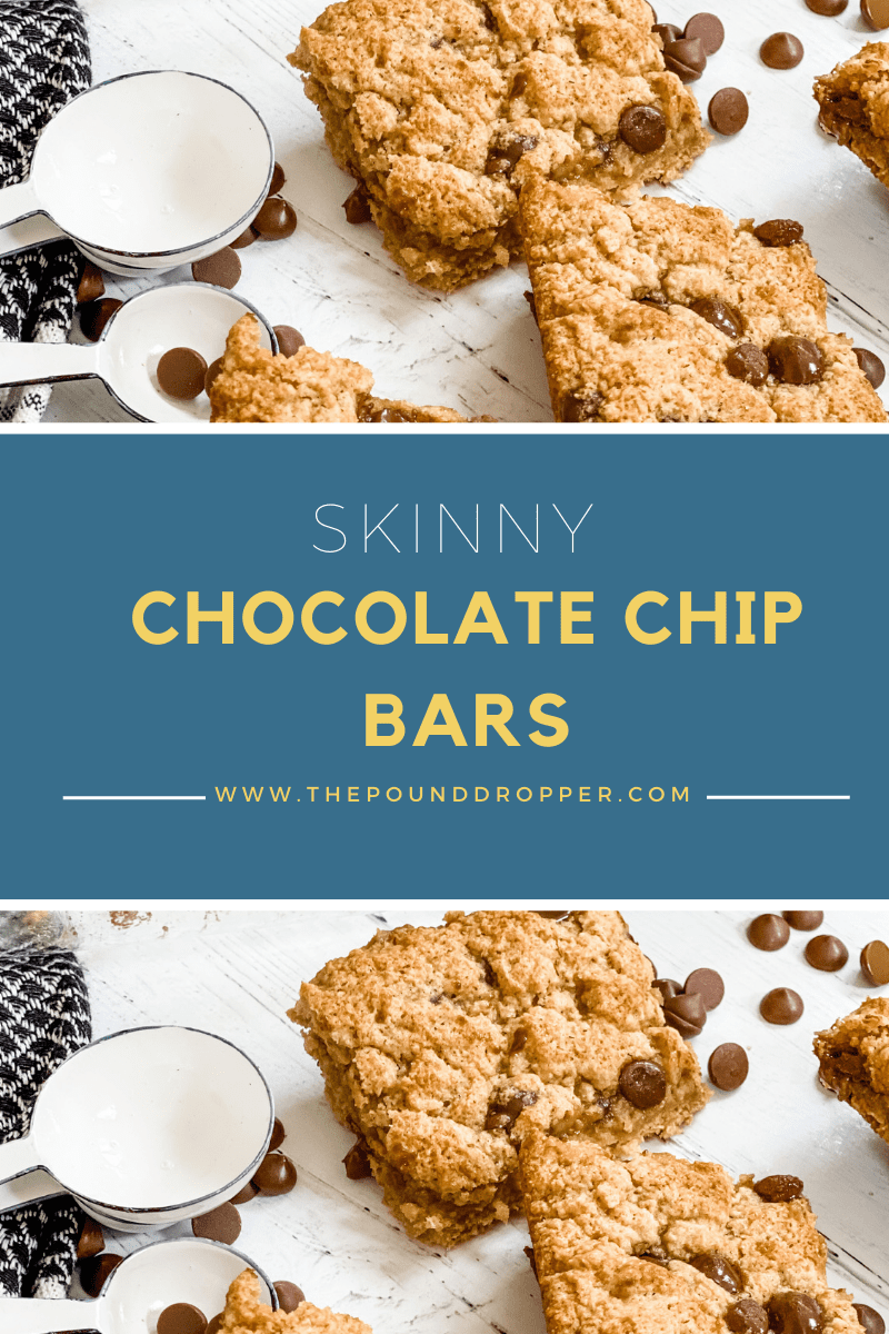 These Skinny Chocolate Chip Bars are made healthier-usingproteinpancake mix, eggs, unsweetened applesauce, and sweetened with monk-fruit naturalsweetener, vanilla extract, and no sugar addedchocolate chips! These make for aneasy healthydessert or even breakfast! via @pounddropper