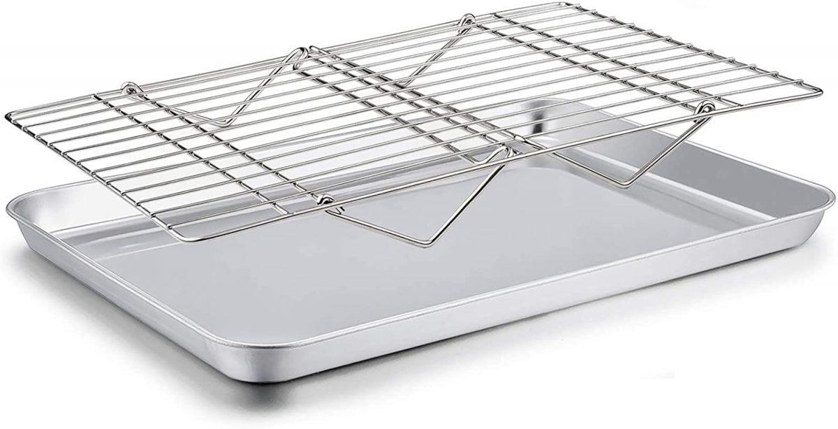 Baking Sheet with Rack Set, Cookie Sheet Baking Pan & Cooling Baking Roasting Stackable Rack