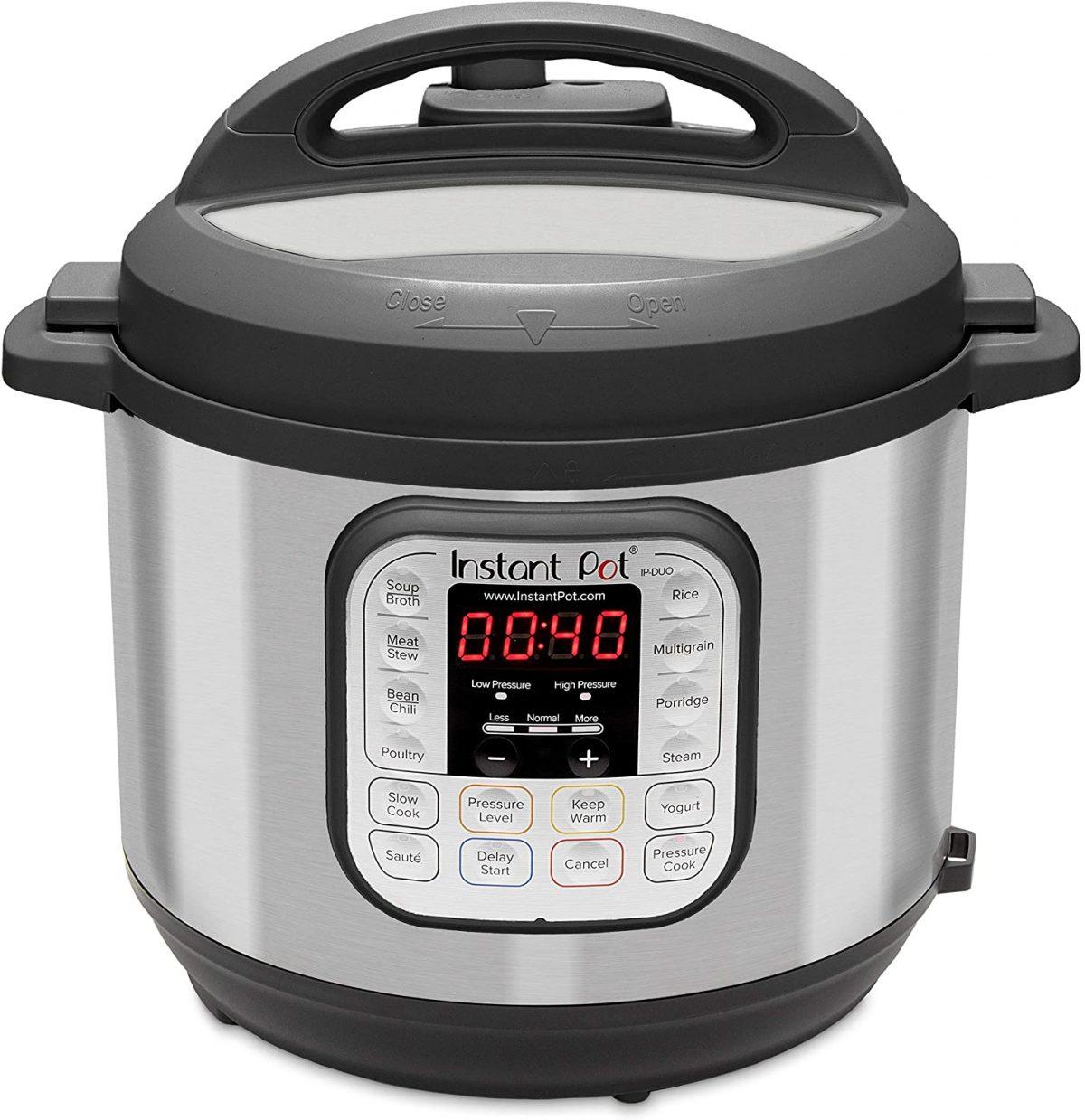 Instant Pot Duo 7-in-1 Electric Pressure Cooker, Sterilizer, Slow Cooker, Rice Cooker, Steamer, Saute, Yogurt Maker, and Warmer, 6 Quart