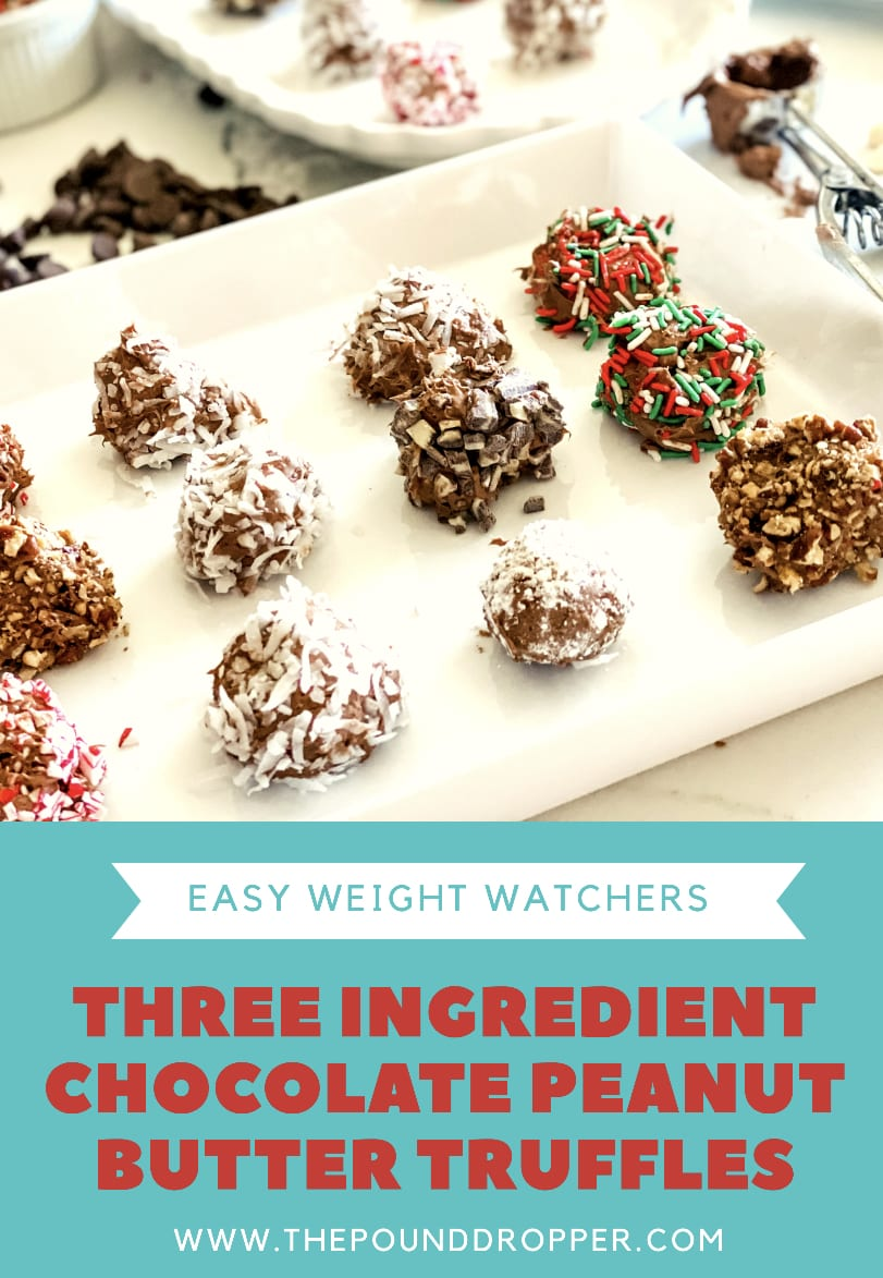 These Three Ingredient Chocolate Peanut Butter Truffle are bite sized treats-made with sugar free cool whip, peanut butter, and no sugar added chocolate chips-making them light yet delicate! Simple to make andperfect for holidays! via @pounddropper