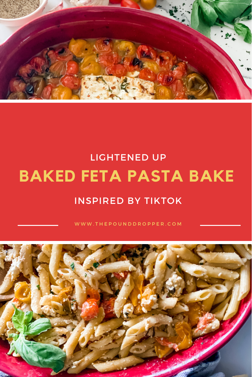 This Lightened Up Baked Feta Pasta Bakewas inspired by TikTok's famous baked feta pasta-this versionis lightened up and simple to make-packed with so much goodness- melted feta cheese, garlic, olive oil, white cooking wine, cherry tomatoes, and fresh basil-then baked to perfection! via @pounddropper
