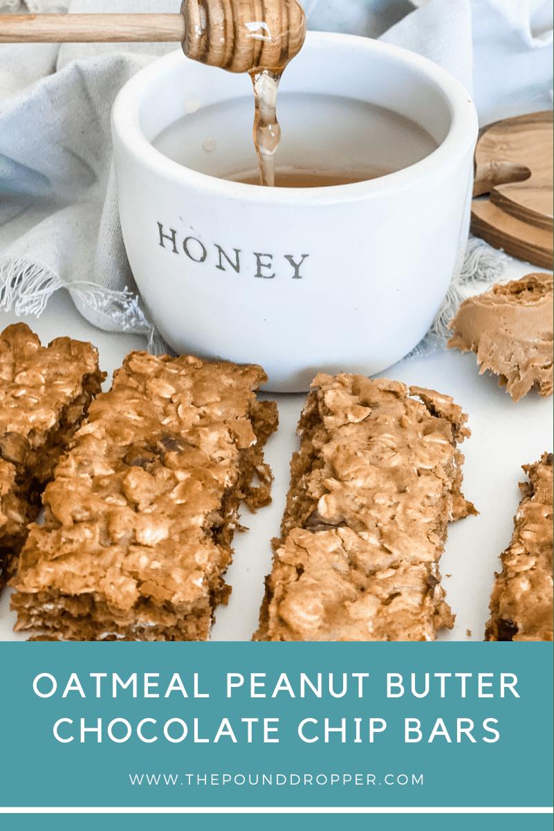 Oatmeal Peanut Butter Chocolate Chip Bars via @pounddropper