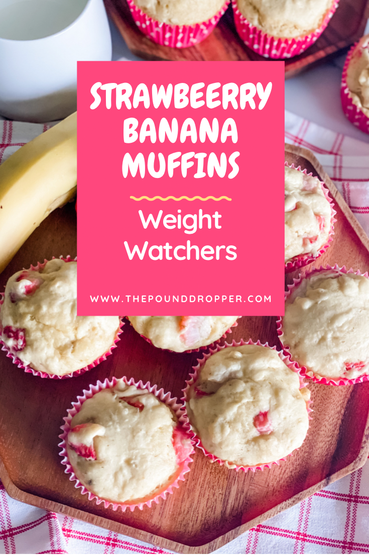 These Weight Watchers Strawberry Banana Muffins are perfectly sweet-packed with fresh strawberries and bananas-Let's be real-who doesn't love the combination of strawberry and banana? I'm pretty sure these will be devoured by your entire family! via @pounddropper