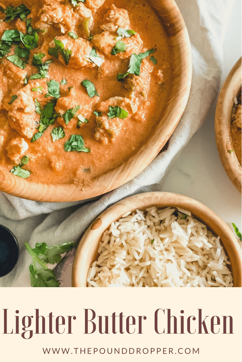This Lighter Butter Chicken is aneasy recipe that's full of savory flavor with warm spices-it's packed with tender chunks of chicken simmered in a creamy spiced sauce! No one will believe it's not take-out! via @pounddropper
