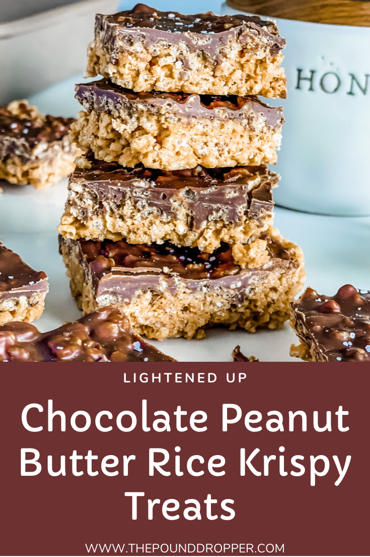 TheseLightened Up Chocolate Peanut Butter Rice Krispie Treats make for an easyno bake chocolate peanut buttery treat- made with only 6 ingredients! These are DELISH-and a healthier alternative to the classic Chocolate Peanut Butter Rice Krispy Treat-using honey instead of corn syrup! via @pounddropper