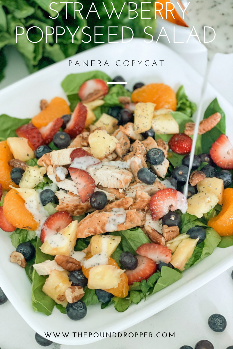 This Strawberry Poppyseed Saladwas inspired by Panera'sStrawberry Poppyseed Salad! It's packed with so much goodness- romaine lettuce, fresh fruit, boneless skinless chicken strips, toasted pecans, and then drizzled with a mouth watering homemade poppyseed dressing! via @pounddropper