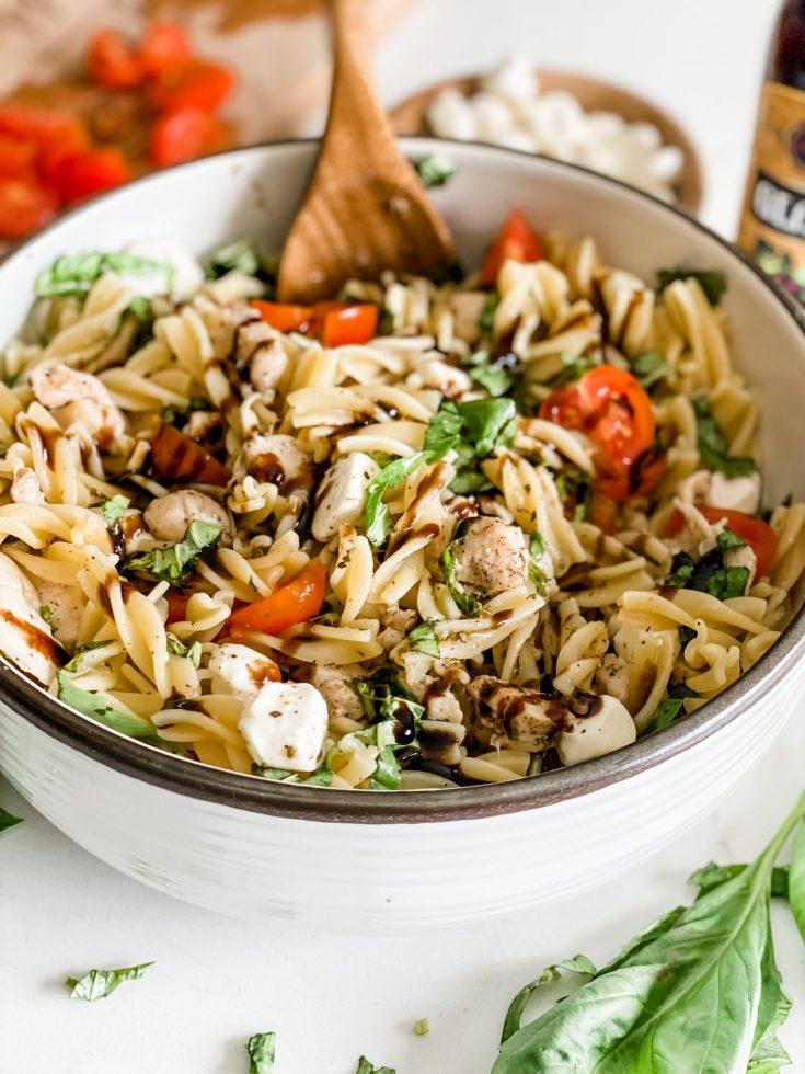 Caprese Chicken Pasta Salad