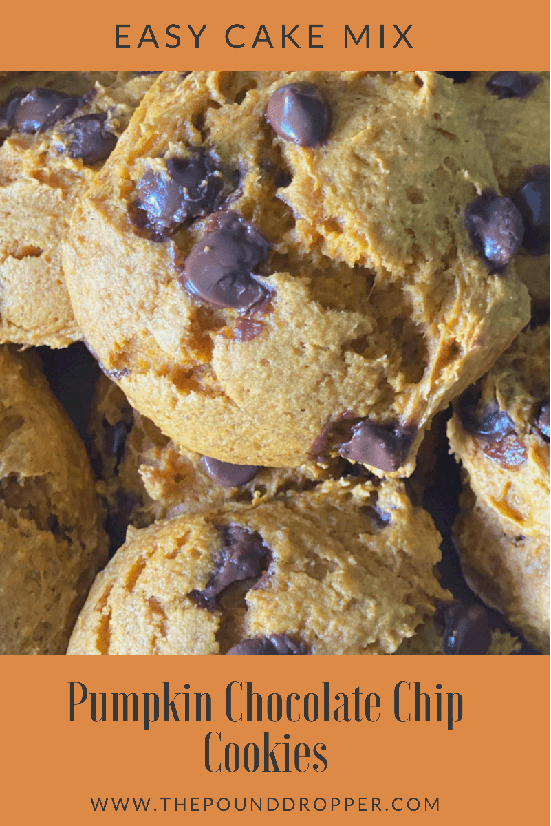 These Easy Cake Mix Pumpkin Cookies can be made in just a matter of minutes using ONLY five ingredients: cake mix, pumpkin, an egg, and no sugar added chocolate chips-these make for a yummy no sugar added fall treat or dessert! via @pounddropper