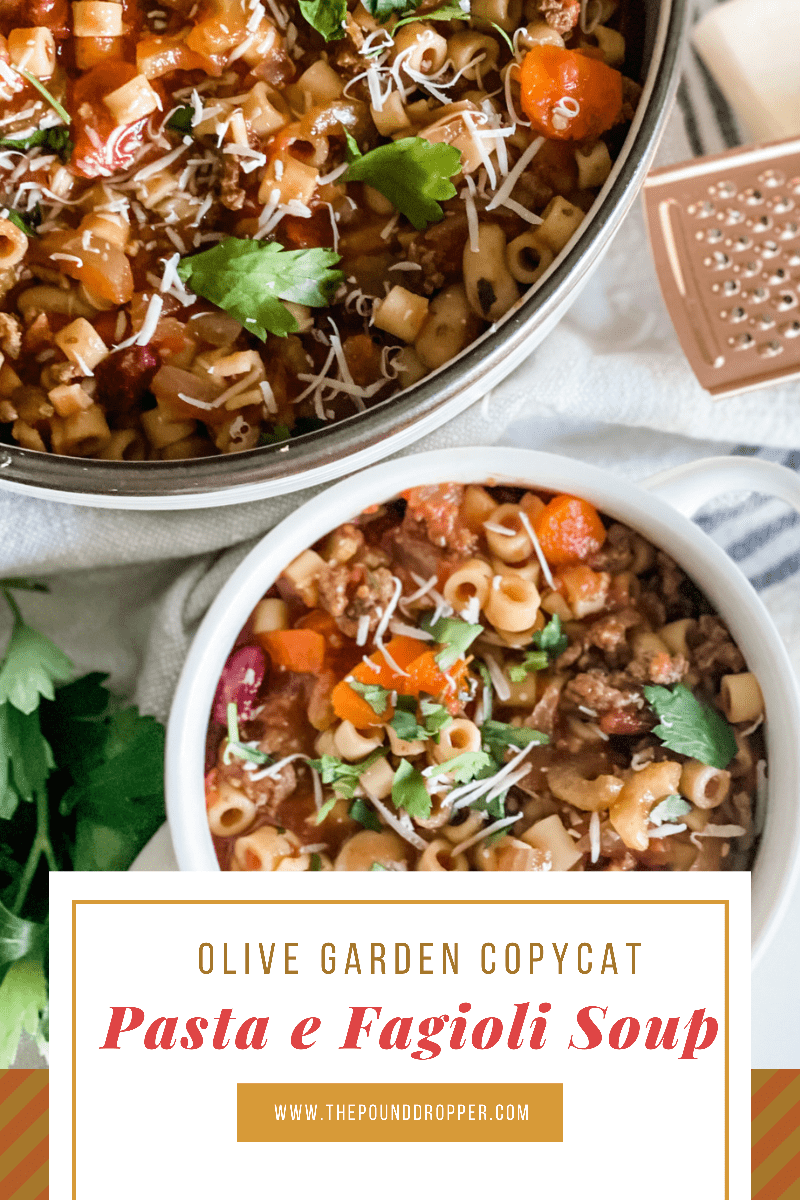 This Olive Garden Copycat Pasta e Fagioli Soup is one-pot soup inspired by Olive Garden! This soup is packed with vegetables, fresh herbs, beans, lean ground beef, and pasta-which makes for a rich and hearty Italian soup! via @pounddropper