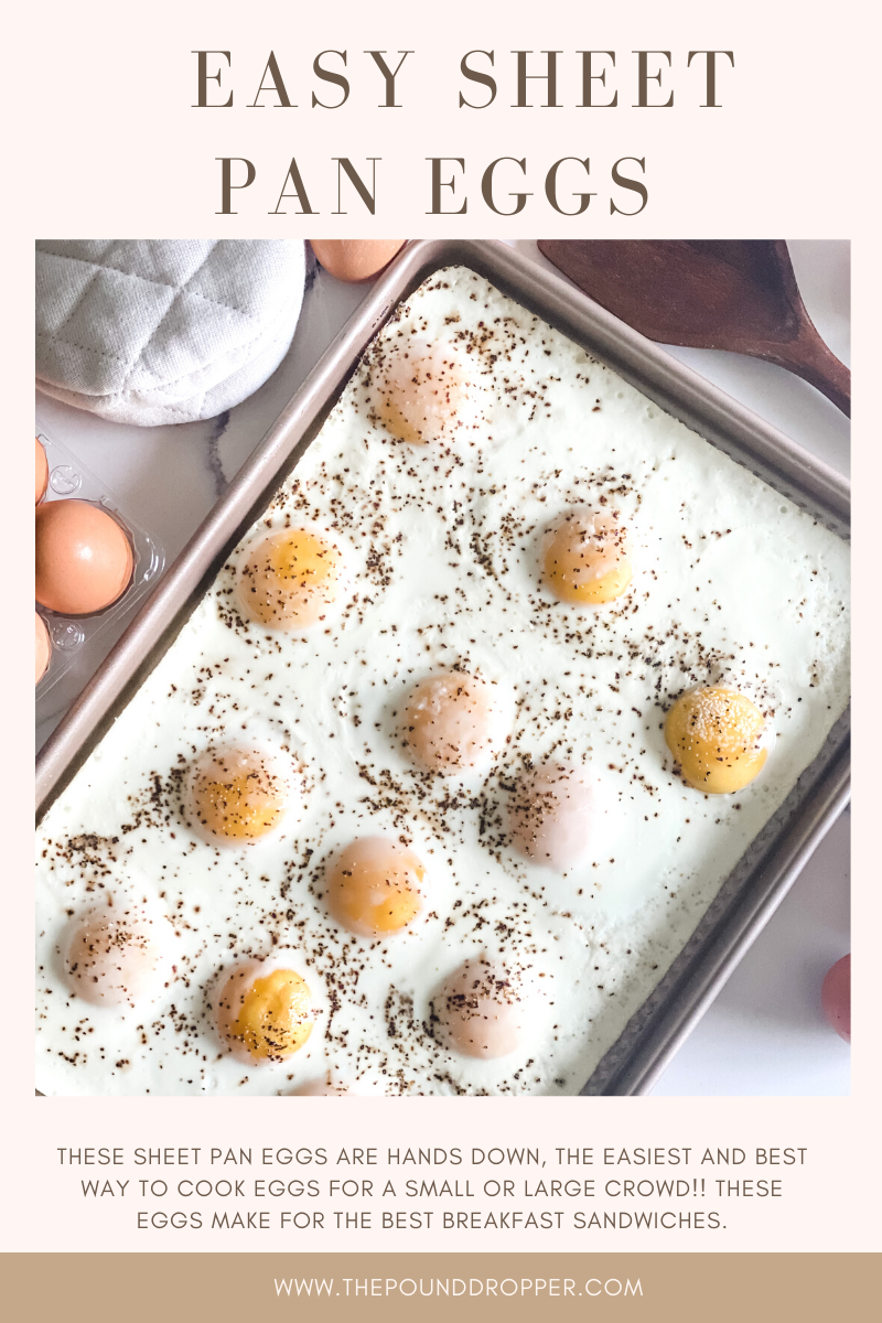 This Easy Sheet Pan Eggs make for an easy meal prep recipe! The eggs are perfectly cook in just a few minutes. Use them for breakfast sandwiches, weekend brunch, or breakfast meal prep! via @pounddropper